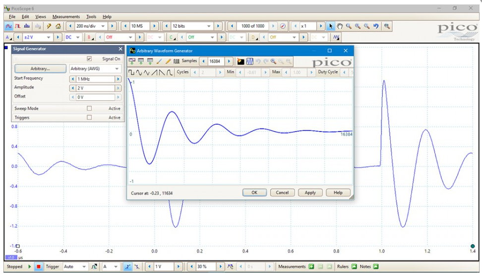 PicoScope 5000D built-in Arbitrary Waveform Generator